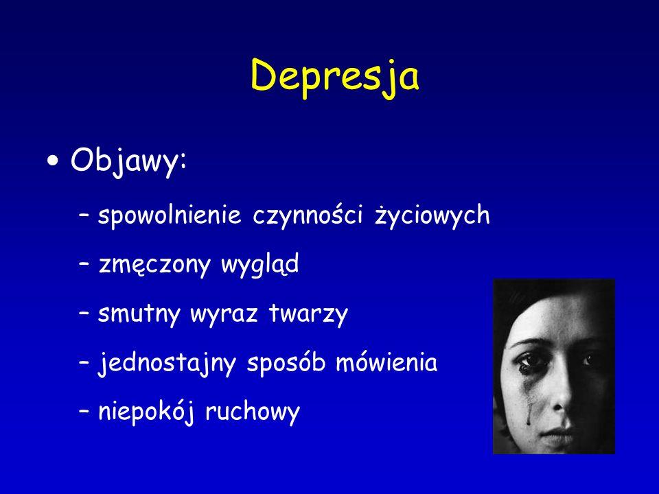 Objawy: – spowolnienie czynności życiowych – zmęczony wygląd – smutny wyraz twarzy – jednostajny sposób mówienia – niepokój ruchowy