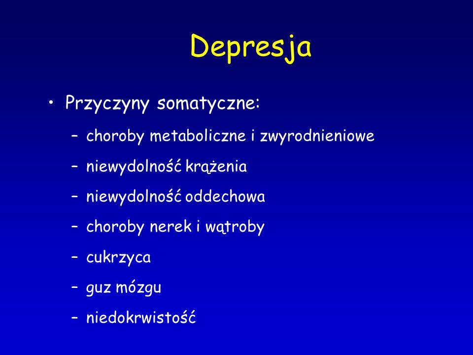 Depresja Przyczyny somatyczne: –choroby metaboliczne i zwyrodnieniowe –niewydolność krążenia –niewydolność oddechowa –choroby nerek i wątroby –cukrzyc