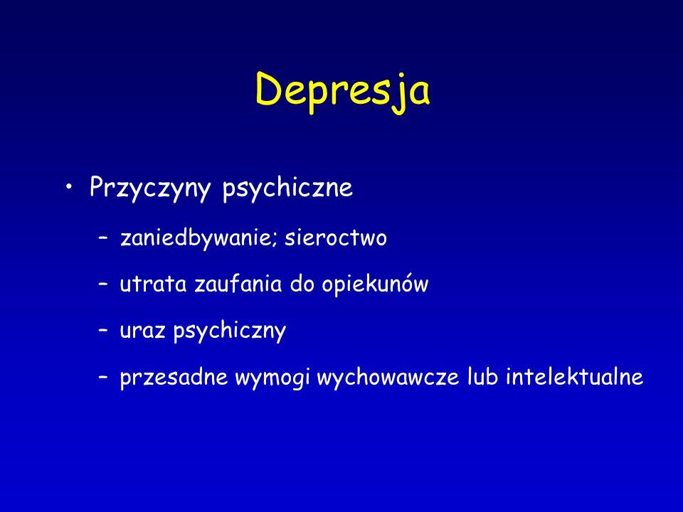 Depresja Przyczyny psychiczne –zaniedbywanie; sieroctwo –utrata zaufania do opiekunów –uraz psychiczny –przesadne wymogi wychowawcze lub intelektualne