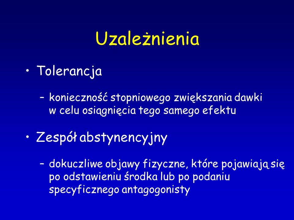 Uzależnienia Tolerancja –konieczność stopniowego zwiększania dawki w celu osiągnięcia tego samego efektu Zespół abstynencyjny –dokuczliwe objawy fizyc