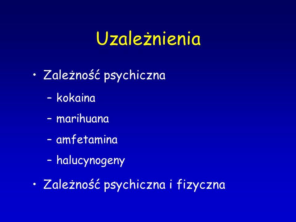 Uzależnienia Zależność psychiczna –kokaina –marihuana –amfetamina –halucynogeny Zależność psychiczna i fizyczna