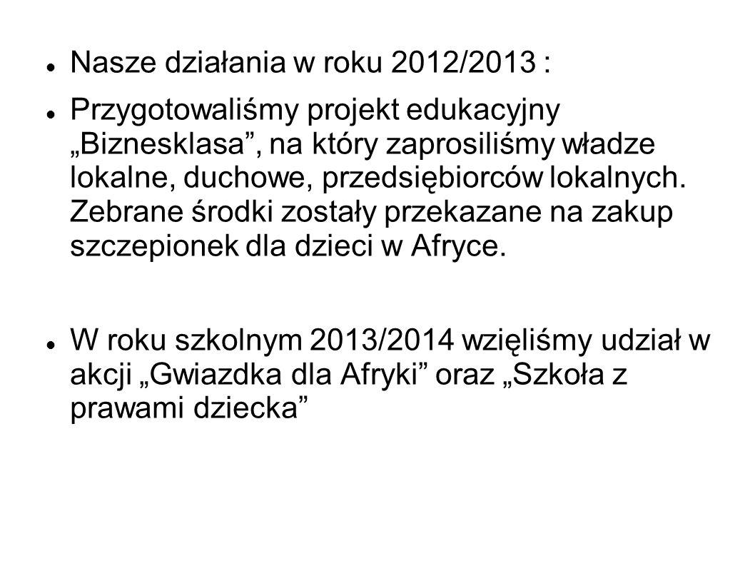 """Nasze działania w roku 2012/2013 : Przygotowaliśmy projekt edukacyjny """"Biznesklasa"""", na który zaprosiliśmy władze lokalne, duchowe, przedsiębiorców lo"""