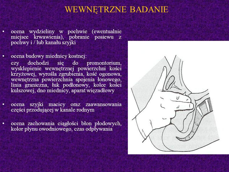 WEWNĘTRZNE BADANIE ocena wydzieliny w pochwie (ewentualnie miejsce krwawienia), pobranie posiewu z pochwy i / lub kanału szyjki ocena budowy miednicy