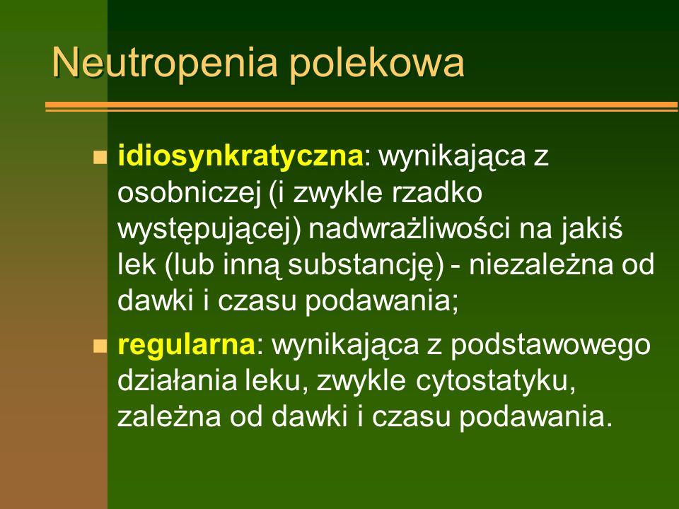 Neutropenia polekowa n idiosynkratyczna: wynikająca z osobniczej (i zwykle rzadko występującej) nadwrażliwości na jakiś lek (lub inną substancję) - niezależna od dawki i czasu podawania; n regularna: wynikająca z podstawowego działania leku, zwykle cytostatyku, zależna od dawki i czasu podawania.