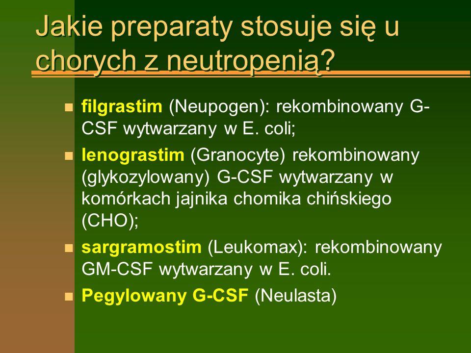 Jakie preparaty stosuje się u chorych z neutropenią.
