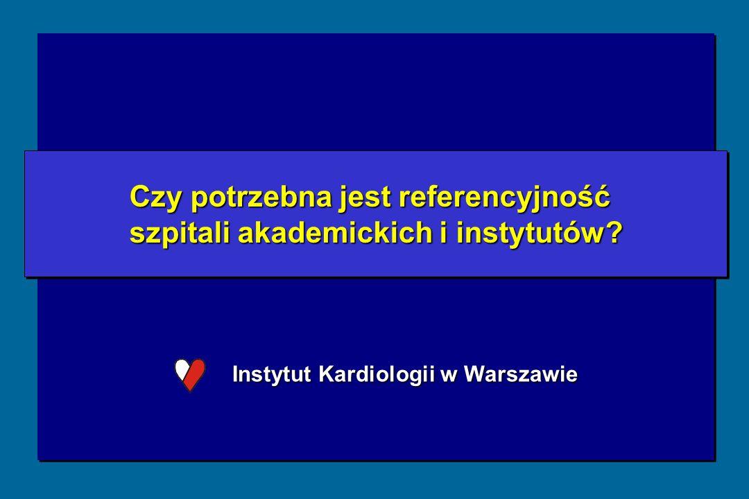 Instytut Kardiologii w Warszawie Czy potrzebna jest referencyjność szpitali akademickich i instytutów.