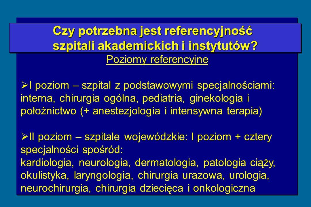 Czy potrzebna jest referencyjność szpitali akademickich i instytutów.
