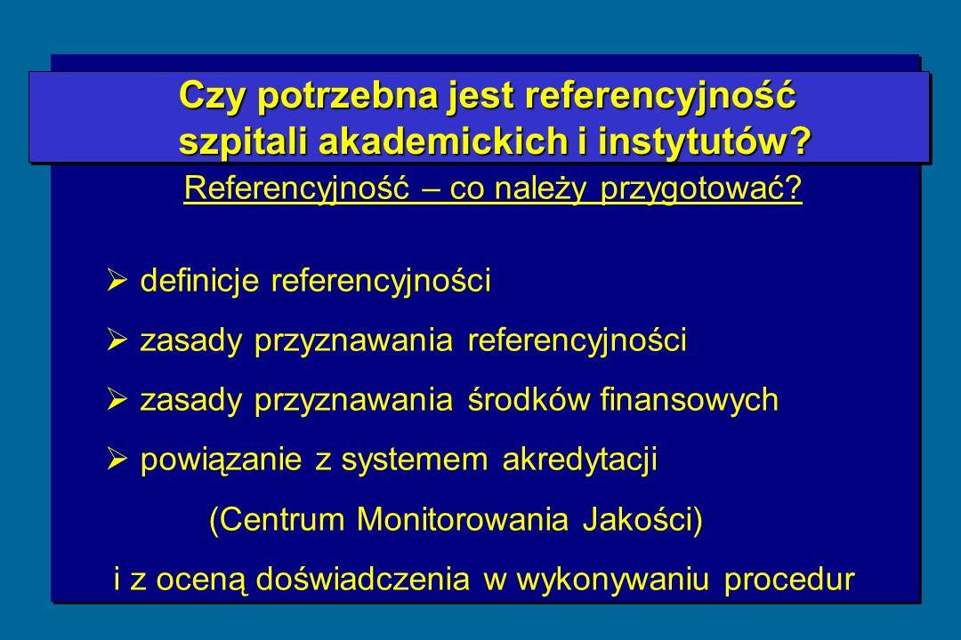 Czy potrzebna jest referencyjność Czy potrzebna jest referencyjność szpitali akademickich i instytutów.