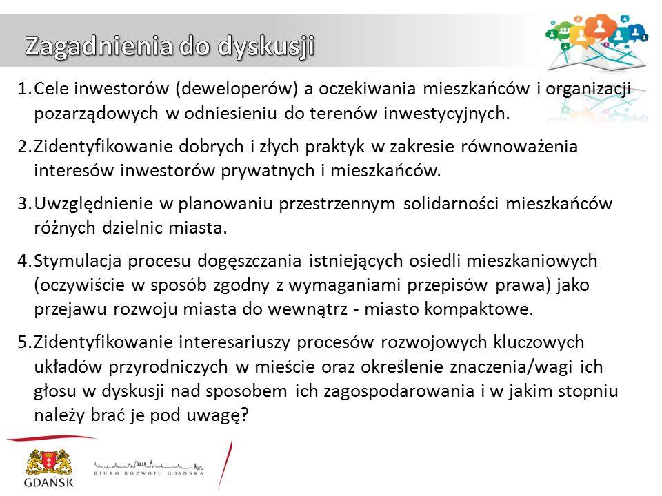 1.Cele inwestorów (deweloperów) a oczekiwania mieszkańców i organizacji pozarządowych w odniesieniu do terenów inwestycyjnych.