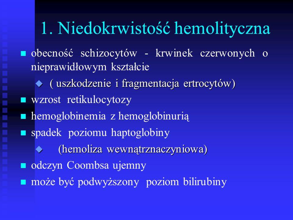 1. Niedokrwistość hemolityczna n n obecność schizocytów - krwinek czerwonych o nieprawidłowym kształcie u ( uszkodzenie i fragmentacja ertrocytów) n n