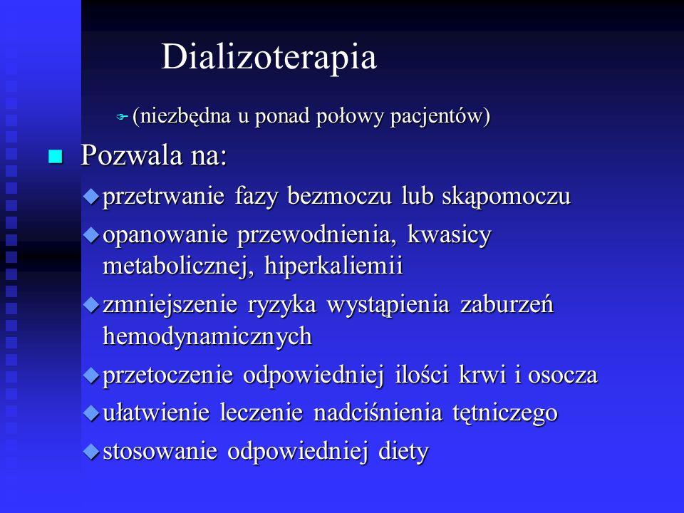 Dializoterapia F (niezbędna u ponad połowy pacjentów) n Pozwala na: u przetrwanie fazy bezmoczu lub skąpomoczu u opanowanie przewodnienia, kwasicy met