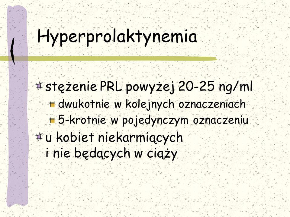Hyperprolaktynemia stężenie PRL powyżej 20-25 ng/ml dwukotnie w kolejnych oznaczeniach 5-krotnie w pojedynczym oznaczeniu u kobiet niekarmiących i nie będących w ciąży