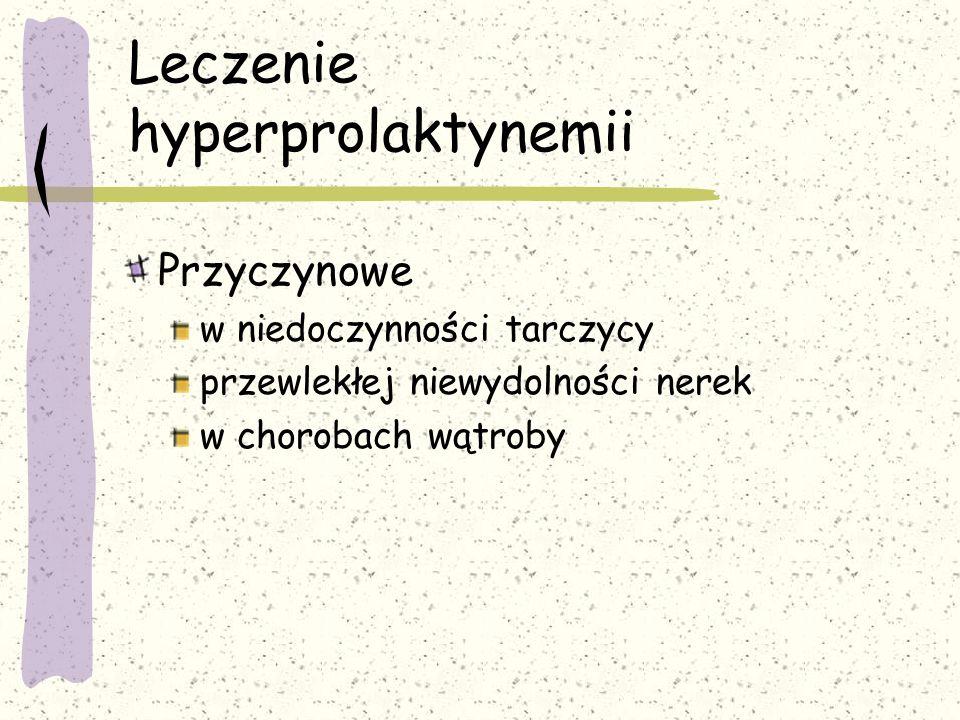 Leczenie hyperprolaktynemii Przyczynowe w niedoczynności tarczycy przewlekłej niewydolności nerek w chorobach wątroby