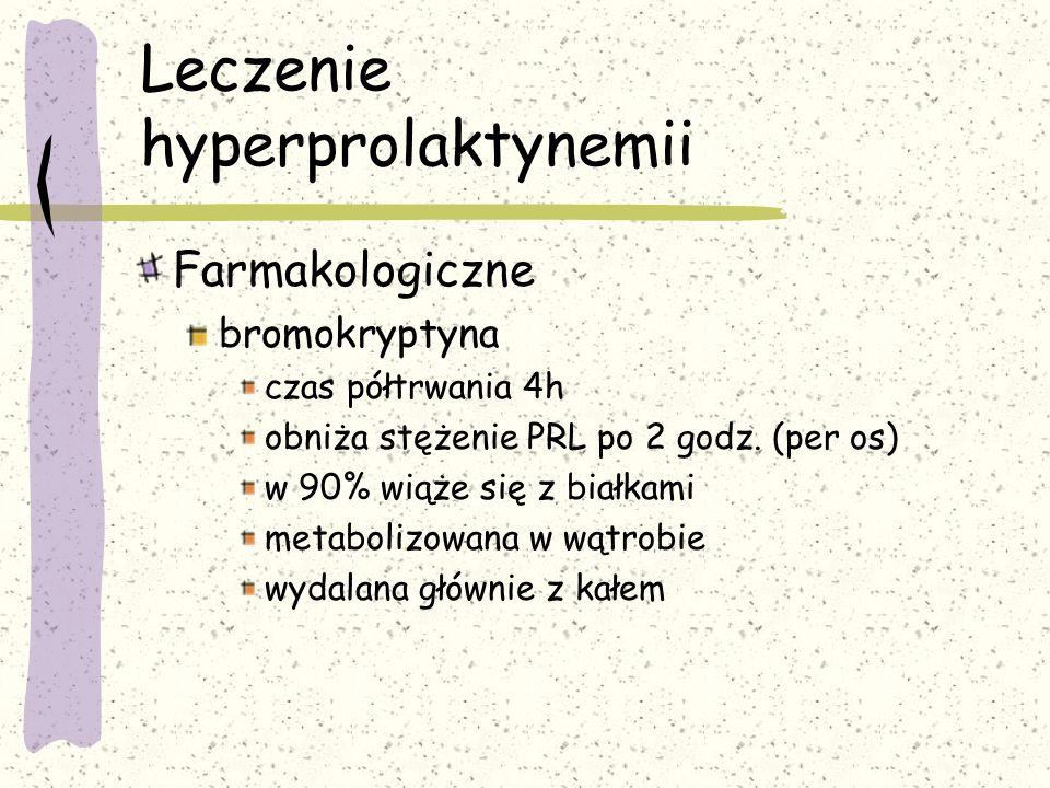 Leczenie hyperprolaktynemii Farmakologiczne bromokryptyna czas półtrwania 4h obniża stężenie PRL po 2 godz.