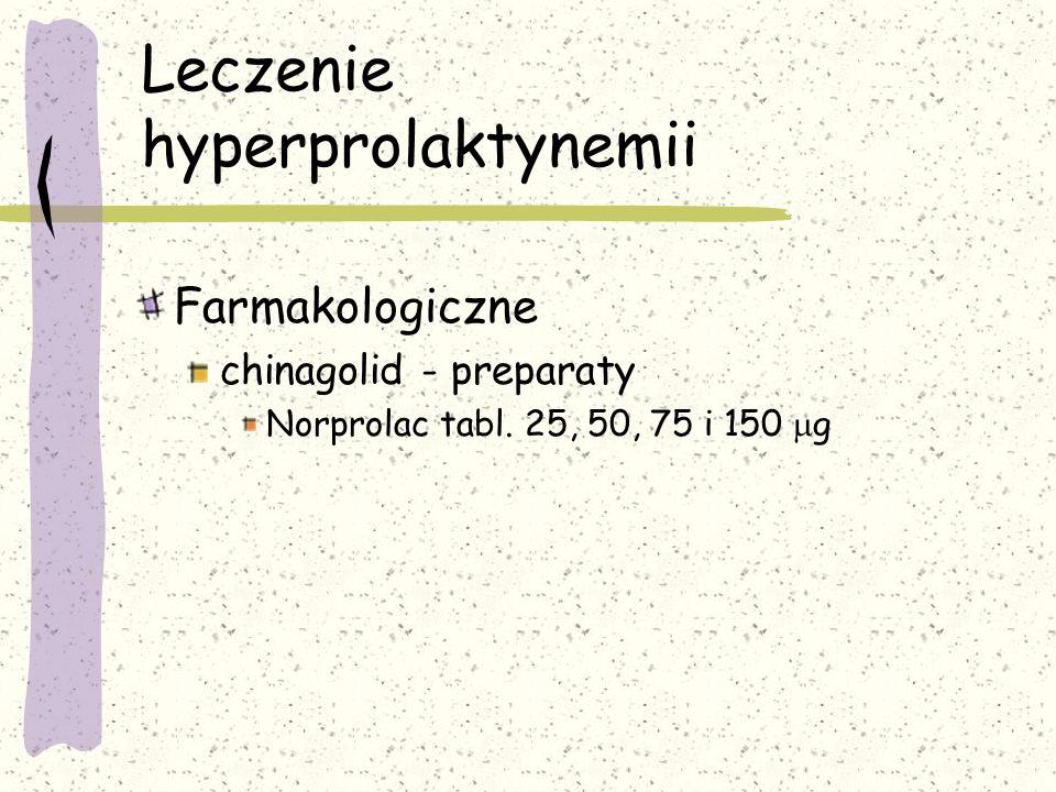 Leczenie hyperprolaktynemii Farmakologiczne chinagolid - preparaty Norprolac tabl.