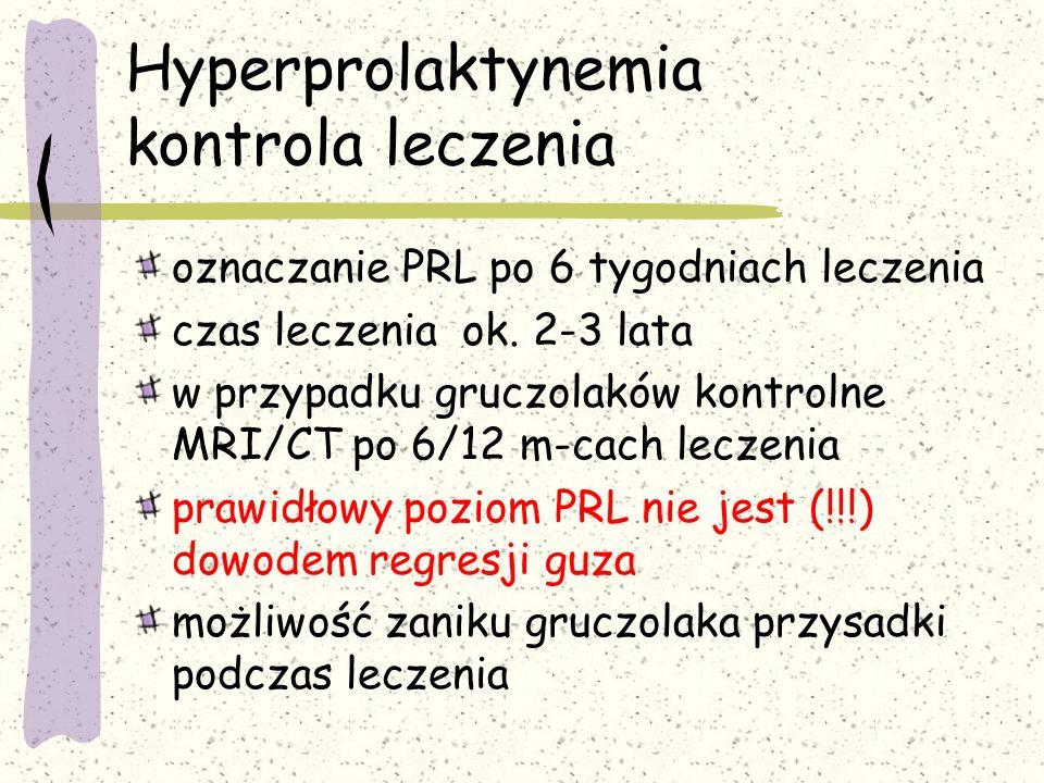 Hyperprolaktynemia kontrola leczenia oznaczanie PRL po 6 tygodniach leczenia czas leczenia ok.