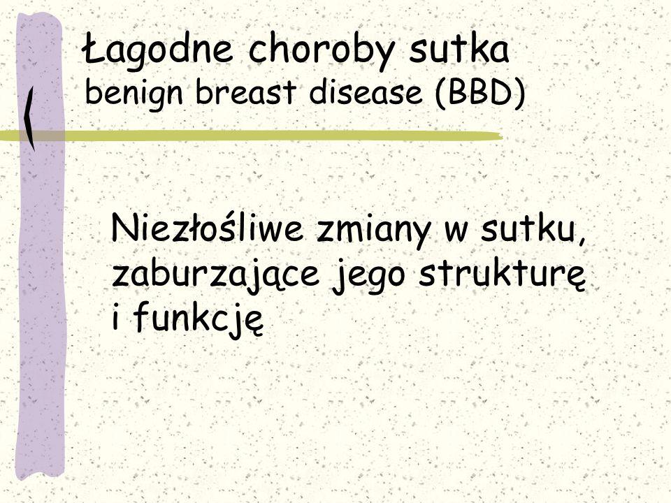 Łagodne choroby sutka benign breast disease (BBD) Niezłośliwe zmiany w sutku, zaburzające jego strukturę i funkcję