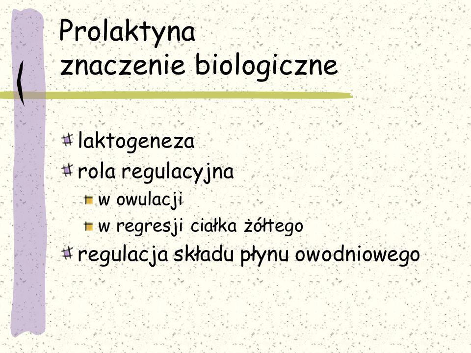 Prolaktyna znaczenie biologiczne laktogeneza rola regulacyjna w owulacji w regresji ciałka żółtego regulacja składu płynu owodniowego