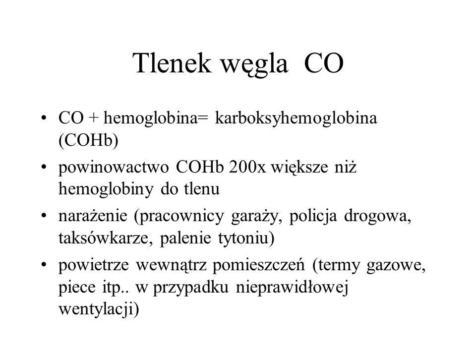 Tlenek węgla CO CO + hemoglobina= karboksyhemoglobina (COHb) powinowactwo COHb 200x większe niż hemoglobiny do tlenu narażenie (pracownicy garaży, policja drogowa, taksówkarze, palenie tytoniu) powietrze wewnątrz pomieszczeń (termy gazowe, piece itp..