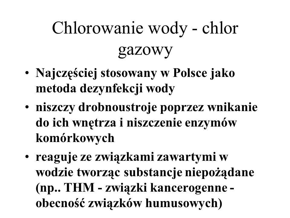 Chlorowanie wody - chlor gazowy Najczęściej stosowany w Polsce jako metoda dezynfekcji wody niszczy drobnoustroje poprzez wnikanie do ich wnętrza i niszczenie enzymów komórkowych reaguje ze związkami zawartymi w wodzie tworząc substancje niepożądane (np..