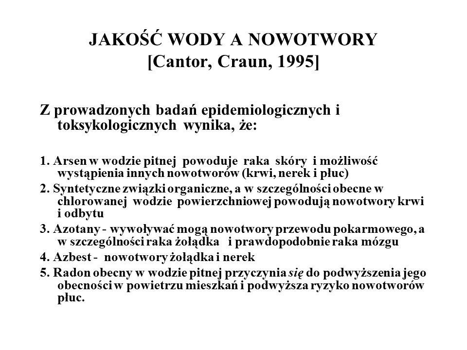 JAKOŚĆ WODY A NOWOTWORY [Cantor, Craun, 1995] Z prowadzonych badań epidemiologicznych i toksykologicznych wynika, że: 1.