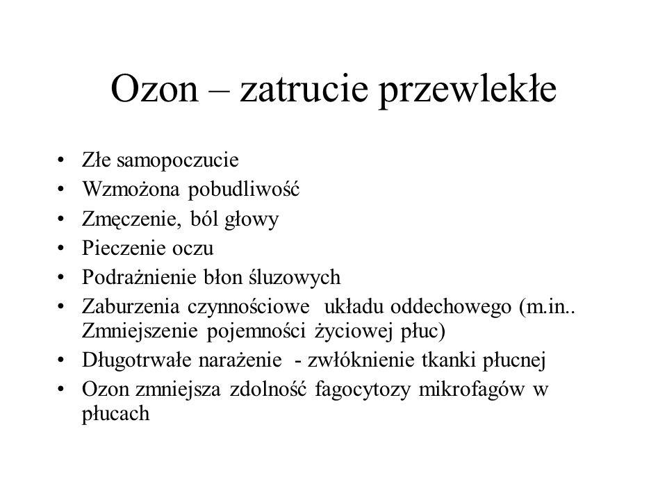 Ozon – zatrucie przewlekłe Złe samopoczucie Wzmożona pobudliwość Zmęczenie, ból głowy Pieczenie oczu Podrażnienie błon śluzowych Zaburzenia czynnościowe układu oddechowego (m.in..