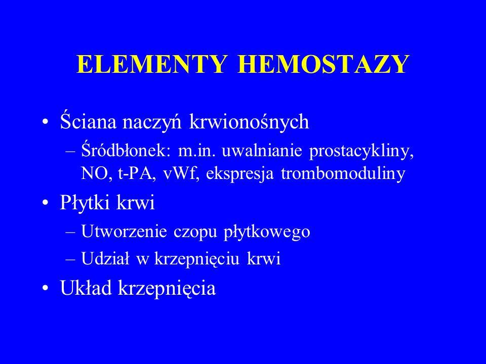 Szlaki aktywacji krzepnięcia XIIXIIa XIXIa X Xa X ProtrombinaTrombina FibrynogenFibryna XIII Ca XIIIa IX IXa VIIVIIa TF VVa VIIIVIIIa Ca PL Ca PL Mech.