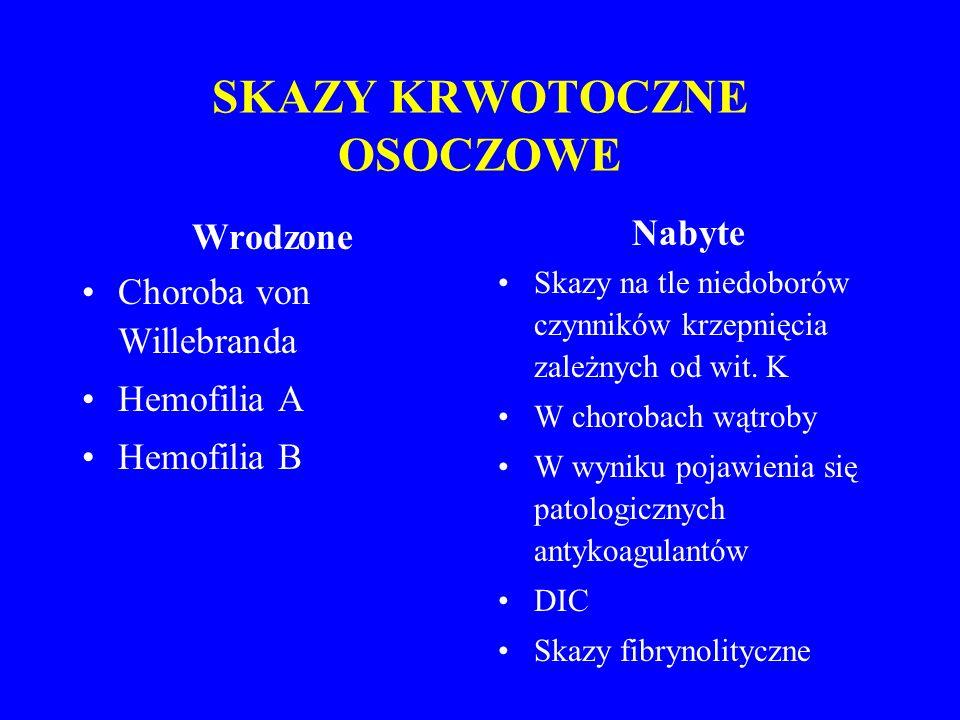 SKAZY KRWOTOCZNE OSOCZOWE Wrodzone Choroba von Willebranda Hemofilia A Hemofilia B Nabyte Skazy na tle niedoborów czynników krzepnięcia zależnych od wit.