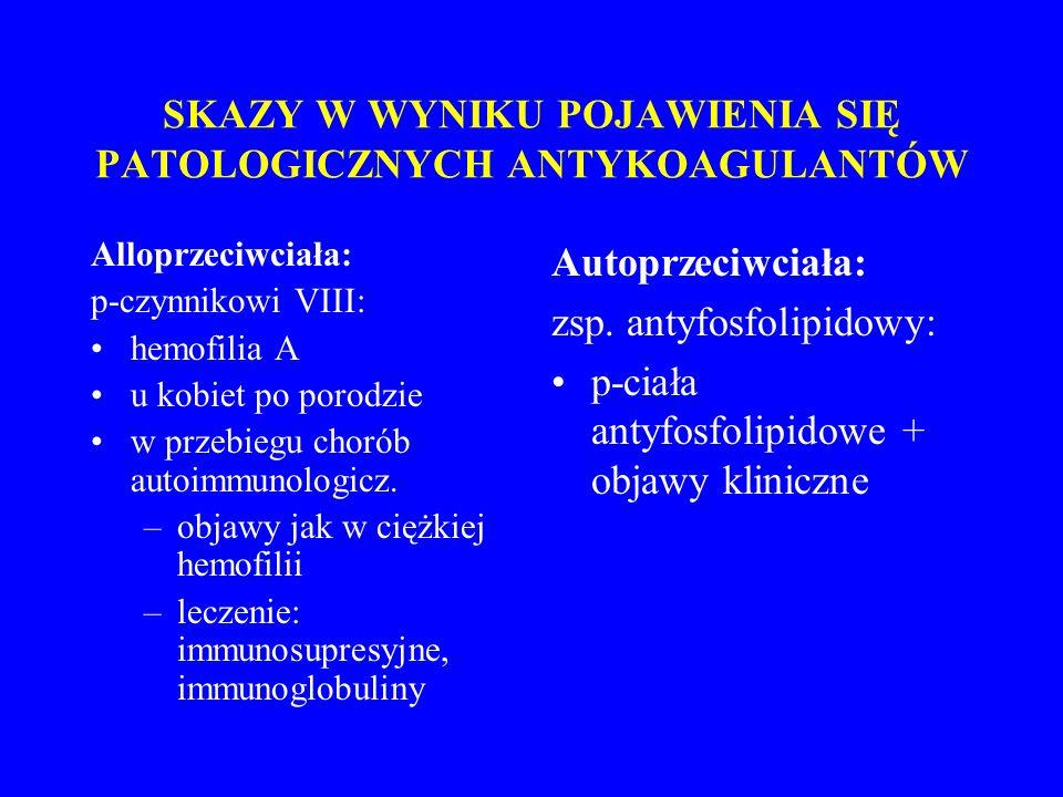 SKAZY W WYNIKU POJAWIENIA SIĘ PATOLOGICZNYCH ANTYKOAGULANTÓW Alloprzeciwciała: p-czynnikowi VIII: hemofilia A u kobiet po porodzie w przebiegu chorób autoimmunologicz.