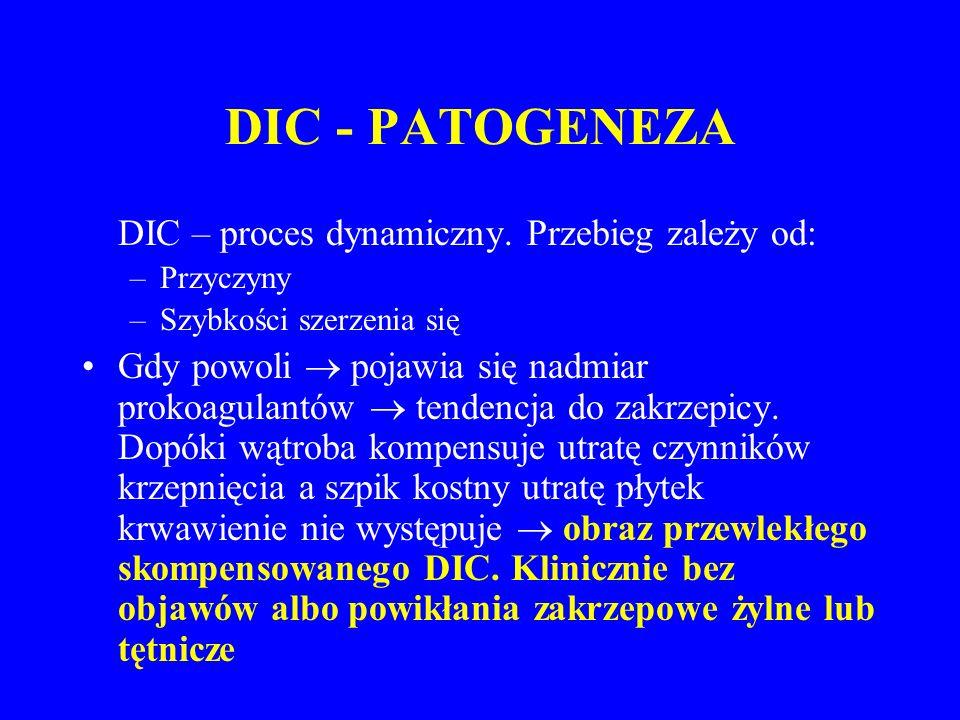 DIC - PATOGENEZA DIC – proces dynamiczny.