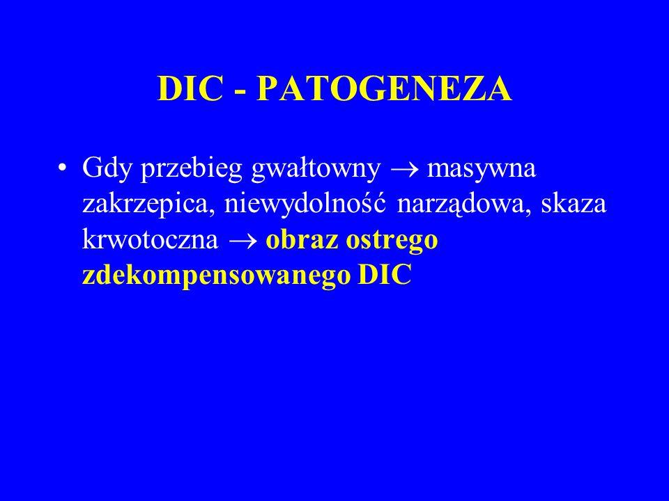 DIC - PATOGENEZA Gdy przebieg gwałtowny  masywna zakrzepica, niewydolność narządowa, skaza krwotoczna  obraz ostrego zdekompensowanego DIC