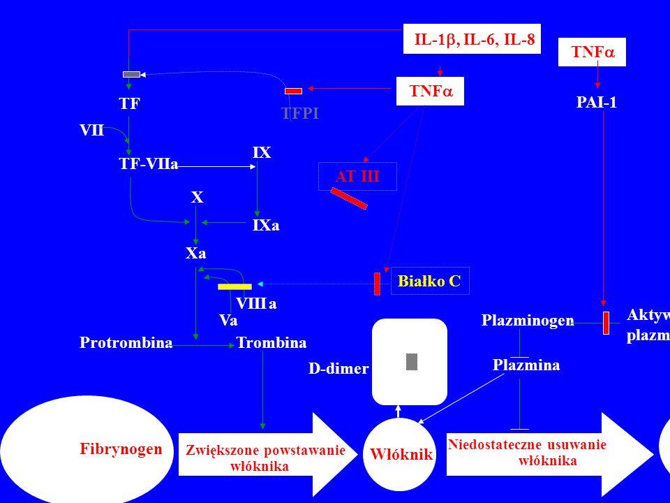 TF IL-1  IL-6, IL-8 TNF  Aktywatory plazminogenu Plazminogen Plazmina VIII Va TF-VIIa IX IXa X Xa ProtrombinaTrombina VII Fibrynogen Zwiększone powstawanie włóknika Włóknik Niedostateczne usuwanie włóknika FDP TFPI Białko C PAI-1 AT III a D-dimer D D