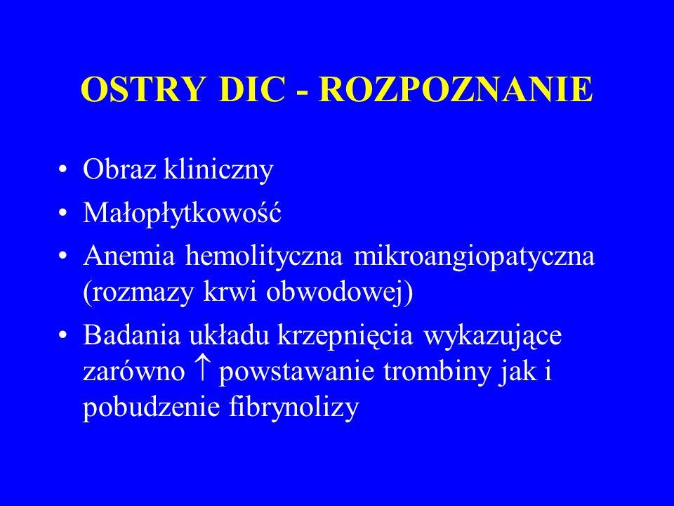 OSTRY DIC - ROZPOZNANIE Obraz kliniczny Małopłytkowość Anemia hemolityczna mikroangiopatyczna (rozmazy krwi obwodowej) Badania układu krzepnięcia wykazujące zarówno  powstawanie trombiny jak i pobudzenie fibrynolizy