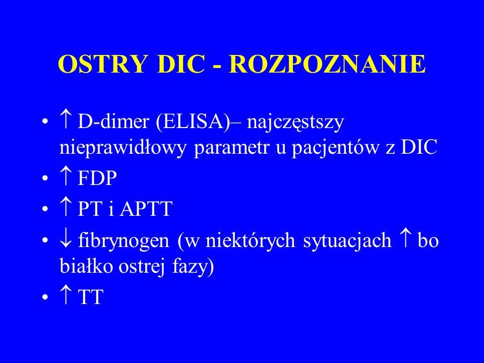 OSTRY DIC - ROZPOZNANIE  D-dimer (ELISA)– najczęstszy nieprawidłowy parametr u pacjentów z DIC  FDP  PT i APTT  fibrynogen (w niektórych sytuacjach  bo białko ostrej fazy)  TT