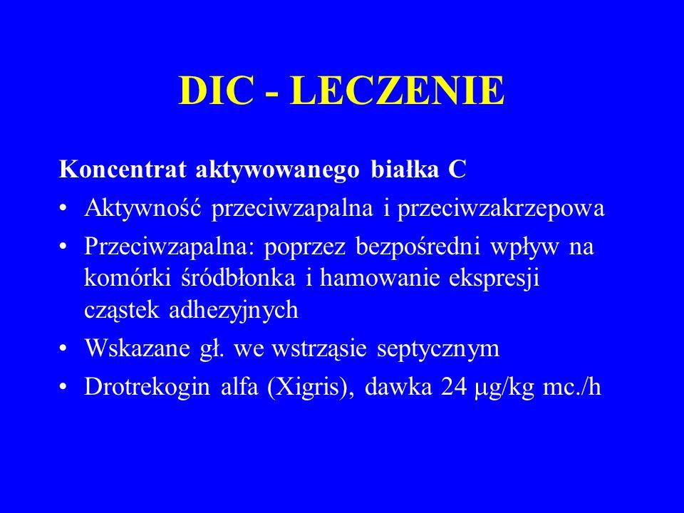 DIC - LECZENIE Koncentrat aktywowanego białka C Aktywność przeciwzapalna i przeciwzakrzepowa Przeciwzapalna: poprzez bezpośredni wpływ na komórki śródbłonka i hamowanie ekspresji cząstek adhezyjnych Wskazane gł.
