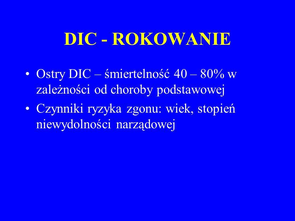 DIC - ROKOWANIE Ostry DIC – śmiertelność 40 – 80% w zależności od choroby podstawowej Czynniki ryzyka zgonu: wiek, stopień niewydolności narządowej