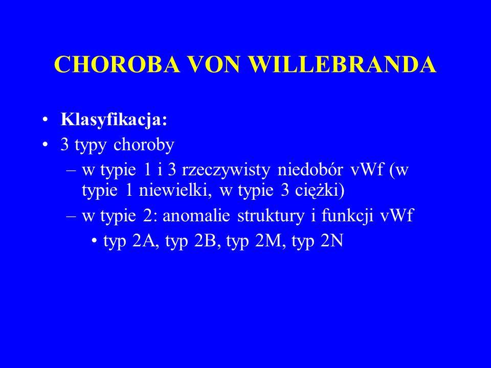 CHOROBA VON WILLEBRANDA Klasyfikacja: 3 typy choroby –w typie 1 i 3 rzeczywisty niedobór vWf (w typie 1 niewielki, w typie 3 ciężki) –w typie 2: anomalie struktury i funkcji vWf typ 2A, typ 2B, typ 2M, typ 2N