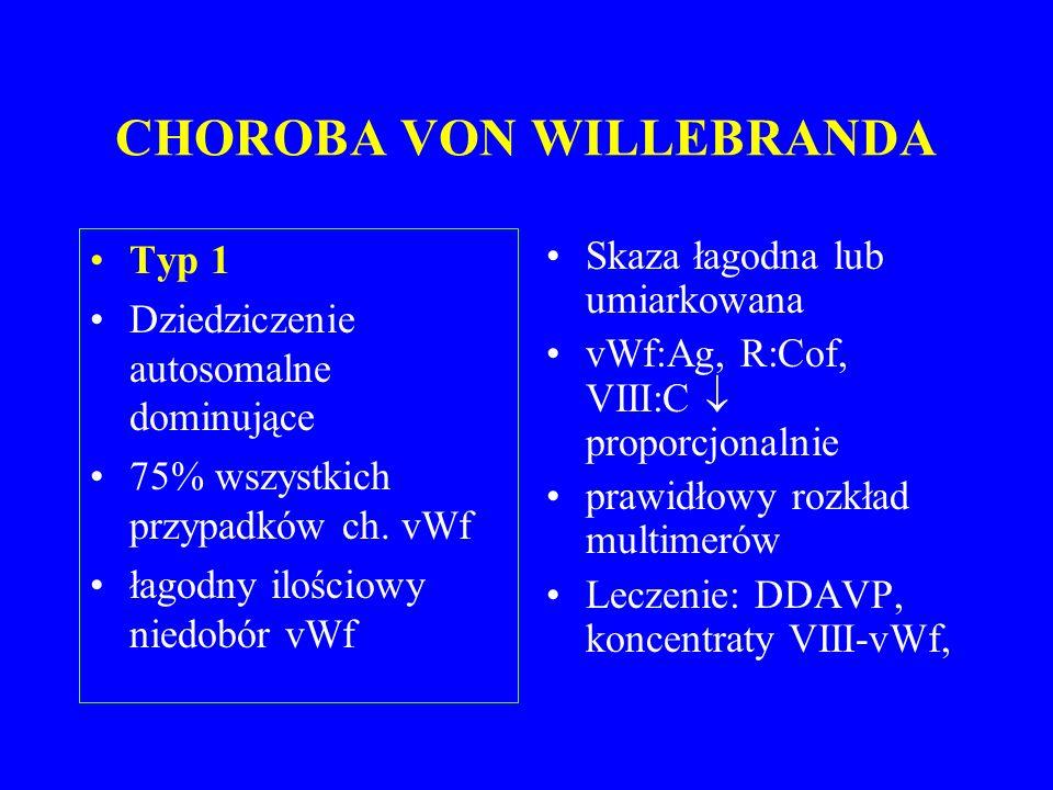 CHOROBA VON WILLEBRANDA Typ 1 Dziedziczenie autosomalne dominujące 75% wszystkich przypadków ch.