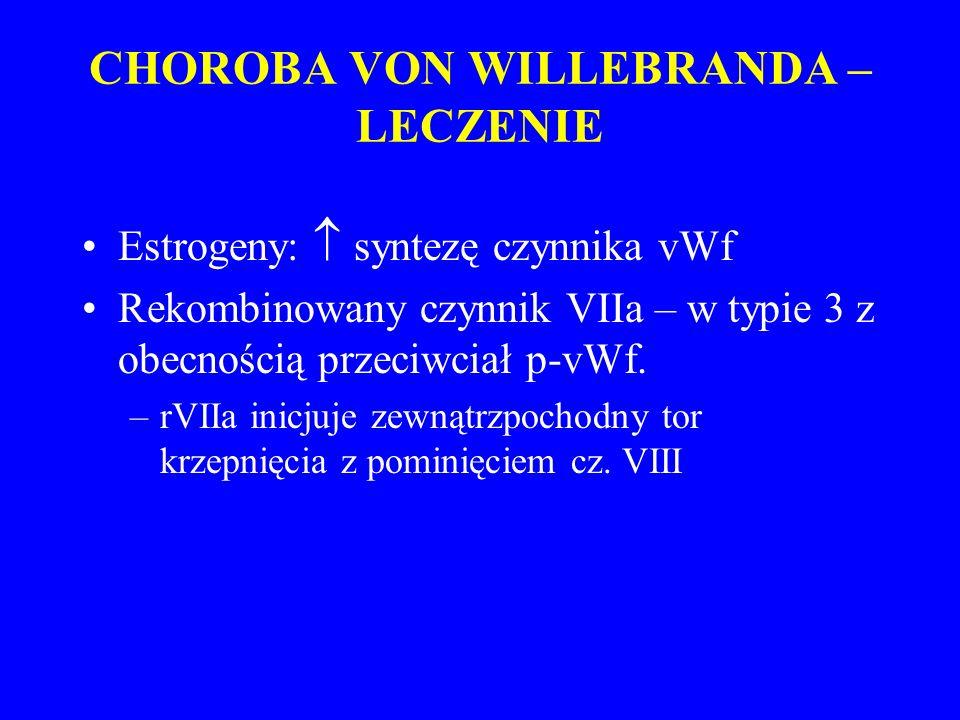 CHOROBA VON WILLEBRANDA – LECZENIE Estrogeny:  syntezę czynnika vWf Rekombinowany czynnik VIIa – w typie 3 z obecnością przeciwciał p-vWf.