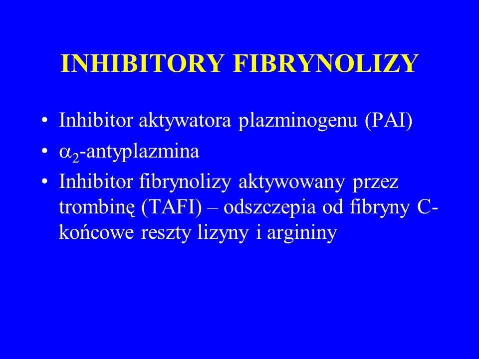INHIBITORY FIBRYNOLIZY Inhibitor aktywatora plazminogenu (PAI)  2 -antyplazmina Inhibitor fibrynolizy aktywowany przez trombinę (TAFI) – odszczepia od fibryny C- końcowe reszty lizyny i argininy