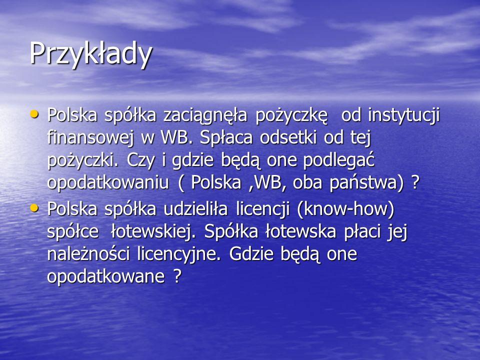 Przykłady Polska spółka zaciągnęła pożyczkę od instytucji finansowej w WB.