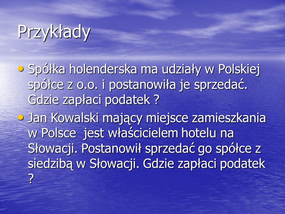 Przykłady Spółka holenderska ma udziały w Polskiej spółce z o.o.