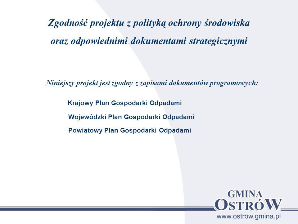 Zgodność projektu z polityką ochrony środowiska oraz odpowiednimi dokumentami strategicznymi Niniejszy projekt jest zgodny z zapisami dokumentów progr