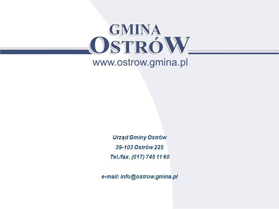 Urząd Gminy Ostrów 39-103 Ostrów 225 Tel./fax. (017) 745 11 60 e-mail: info@ostrow.gmina.pl