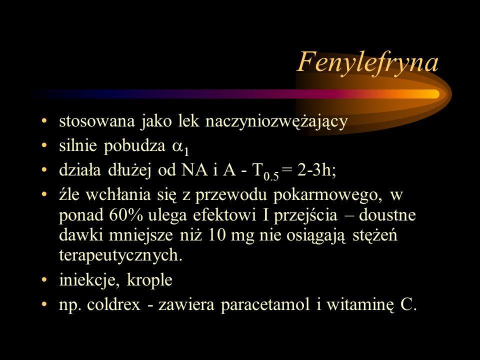 Fenylefryna stosowana jako lek naczyniozwężający silnie pobudza  1 działa dłużej od NA i A - T 0.5 = 2-3h; źle wchłania się z przewodu pokarmowego, w