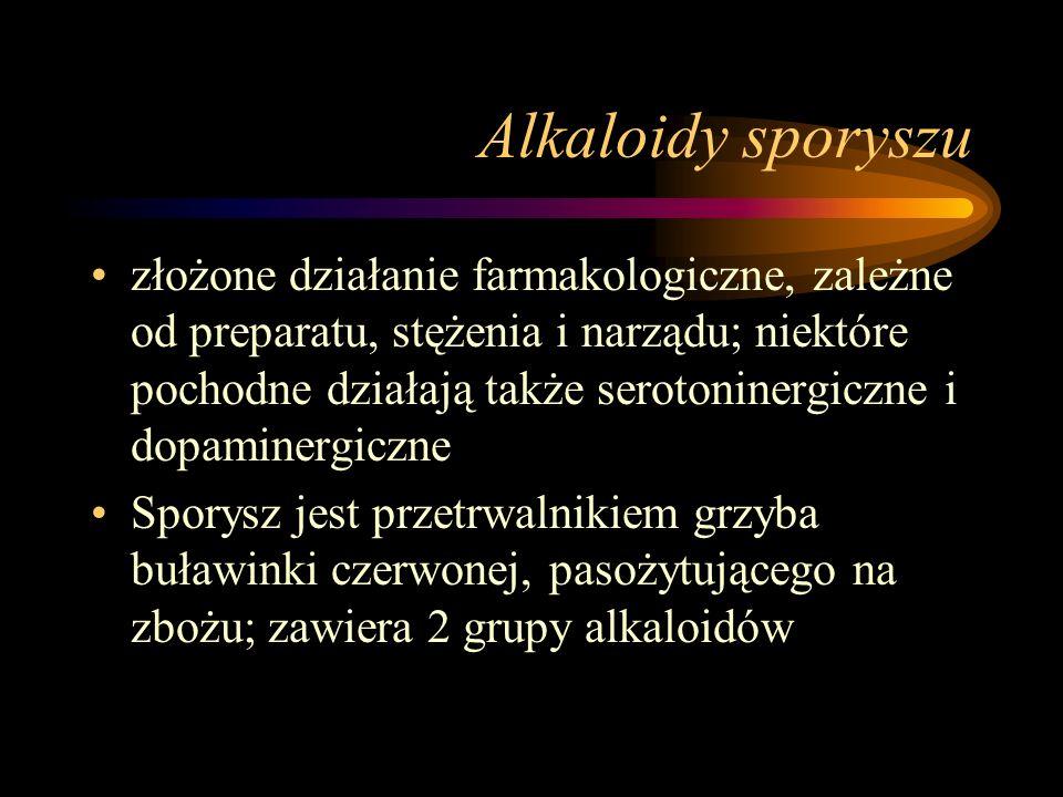 Alkaloidy sporyszu złożone działanie farmakologiczne, zależne od preparatu, stężenia i narządu; niektóre pochodne działają także serotoninergiczne i d