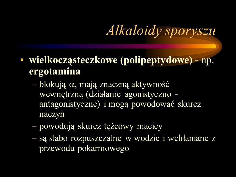Alkaloidy sporyszu wielkocząsteczkowe (polipeptydowe) - np. ergotamina –blokują , mają znaczną aktywność wewnętrzną (działanie agonistyczno - antagon