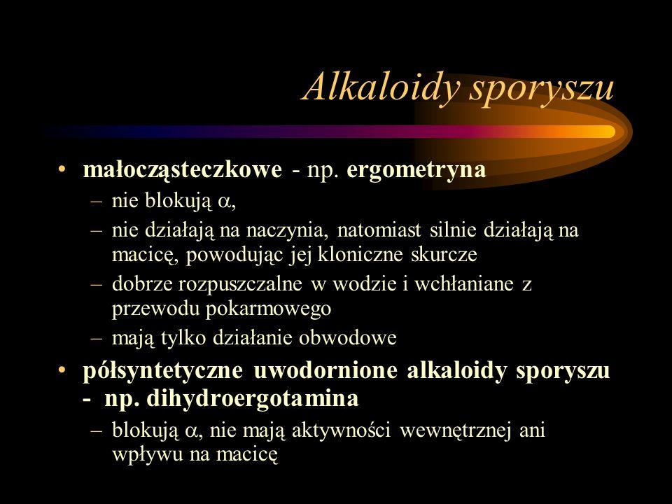 Alkaloidy sporyszu małocząsteczkowe - np. ergometryna –nie blokują , –nie działają na naczynia, natomiast silnie działają na macicę, powodując jej kl
