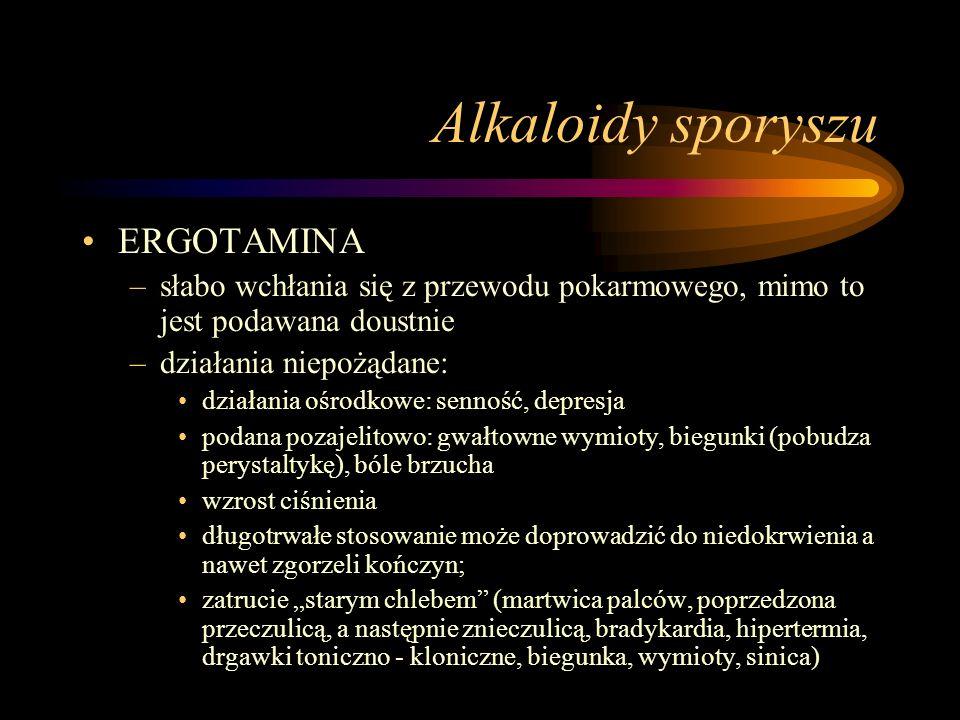 Alkaloidy sporyszu ERGOTAMINA –słabo wchłania się z przewodu pokarmowego, mimo to jest podawana doustnie –działania niepożądane: działania ośrodkowe: