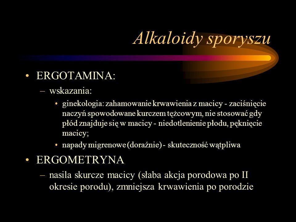 Alkaloidy sporyszu ERGOTAMINA: –wskazania: ginekologia: zahamowanie krwawienia z macicy - zaciśnięcie naczyń spowodowane kurczem tężcowym, nie stosowa